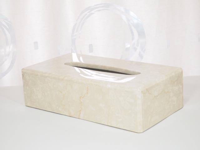 天然大理石ティッシュケース&ペーパータオルホルダー(イタリア産_ポテチーノ)