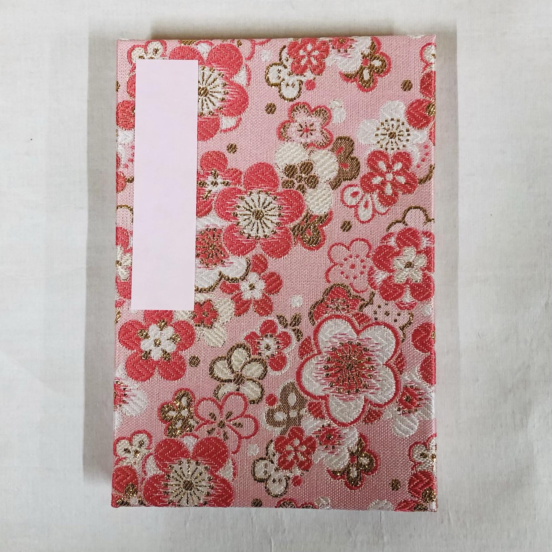 桃地に梅佳境 ピンク和紙 大判 蛇腹