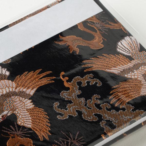 【ビニールカバー付き御朱印帳】八咫烏的な鷹/西陣金襴/大判12x18cm/蛇腹式 共通