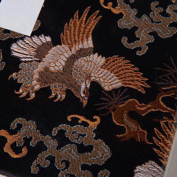 【ビニールカバー付き御朱印帳】八咫烏的な鷹/西陣金襴/大判12x18cm/蛇腹式