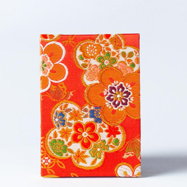 【御朱印帳】蛇腹式/梅づくし金襴/赤