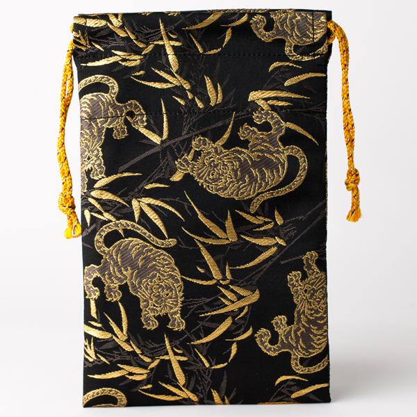 【御朱印帳袋セット】竹林と虎(京都西陣金襴 蛇腹 小型サイズ)