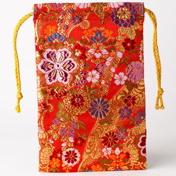 【御朱印帳袋】菊流れ乱れ咲き カラー箔希少金襴 小型蛇腹1冊用