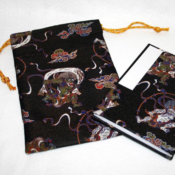 【御朱印帳袋セット】風神雷神/黒(京都西陣金襴 蛇腹 小型サイズ)