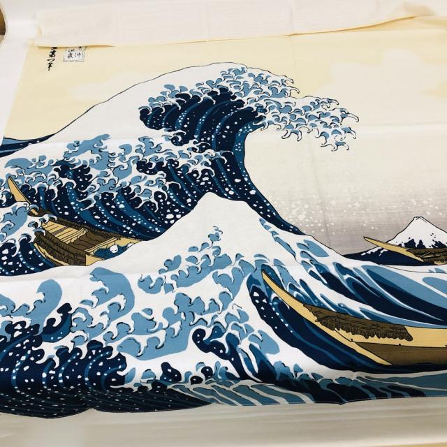 【浮世絵柄の風呂敷】三巾 葛飾北斎 富嶽三十六景 神奈川沖浪裏 海外土産 日本製