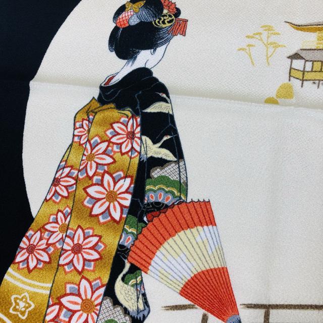 【浮世絵ちりめん風呂敷】歌麿 舞子 ビードロを吹く女 約68×68cm 海外土産 日本製