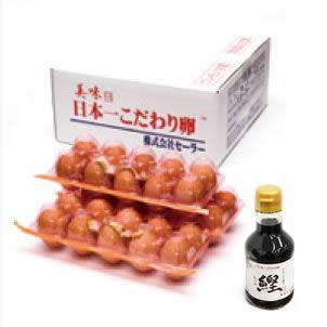 日本一こだわり卵30個(3パック)+たまご掛け醤油180ml.セット
