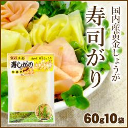 国産黄金生姜使用 寿司ガリ 60g×10  【合成着色料・保存料 不使用】