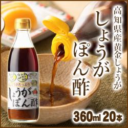 【送料無料】高知産黄金しょうが しょうがぽん酢360ml 20本入【まとめ買い】