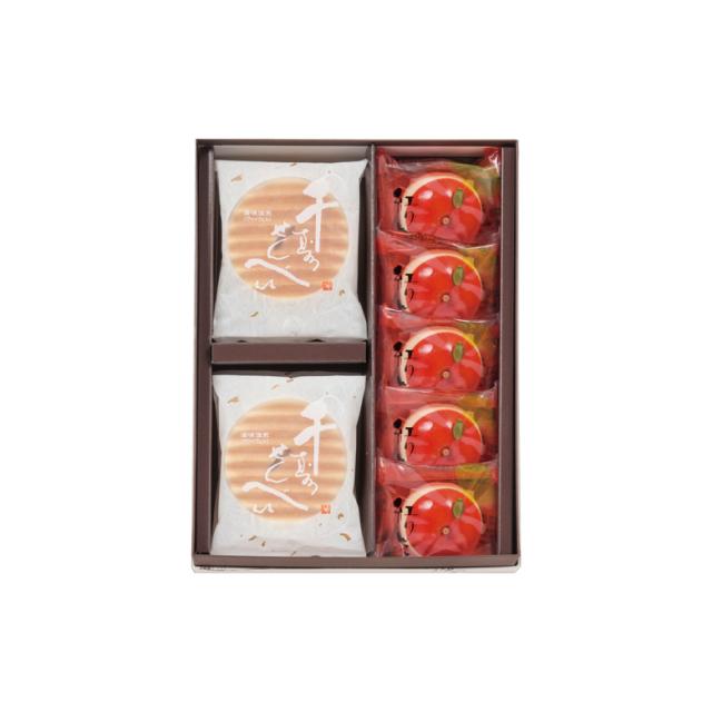 鼓月 秋の銘菓撰詰合せ(千寿せんべい6枚入、紅りんご5個入)