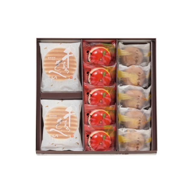 鼓月 秋の銘菓撰詰合せ(千寿せんべい6枚、紅りんご5個、つづみ栗5個)