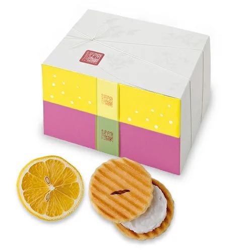 姫千寿せんべい二段箱(レモンスカッシュ12枚入、ストロベリー紅茶12枚入)