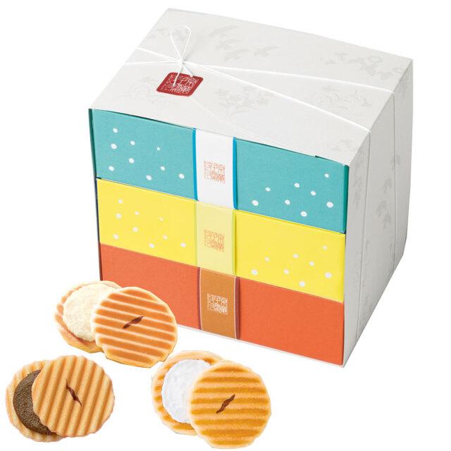 姫千寿せんべい三段箱(ラムネ12枚入、レモンスカッシュ12枚入、有機ほうじ茶12枚入)