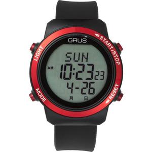 グルス 腕時計 認知症予防 歩幅計測 ウォーキングウォッチ レッド