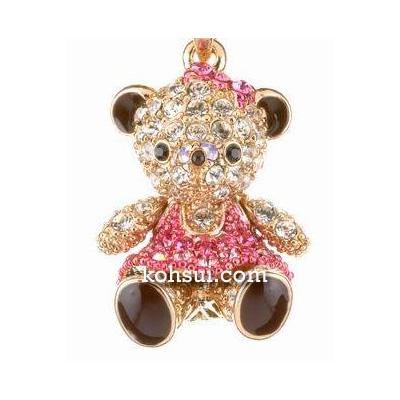 テディベア ペンダント&ストラップ Teddy-04PK 双子(妹) ピンク