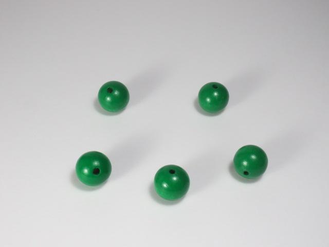 カラー木球 15Φ 穴3 5ヶ入  緑