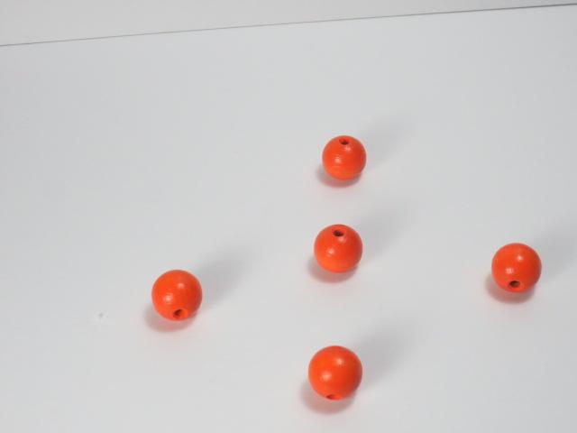 カラー木球 20Φ 穴4  5ヶ入 オレンジ