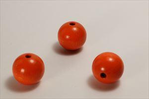 カラー木球 30Φ 穴5  3ヶ入 オレンジ