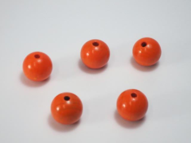 カラー木球 25Φ 穴4 オレンジ