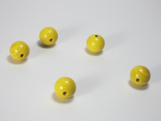 カラー木球 15Φ 穴3 5ヶ入  黄