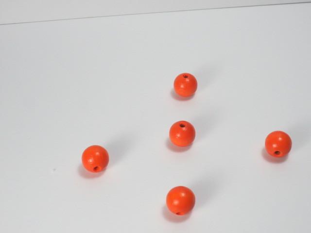 カラー木球 10Φ 穴3 5ヶ入 オレンジ