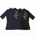 【SALE50%OFF】トンボ刺繍ボトルネックTシャツ