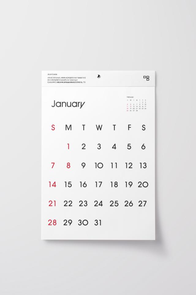 D-BROS(ディーブロス) 2018年カレンダー 「TYPEFACE CALENDAR Avant Garde」