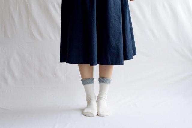 NISHIGUCHI KUTSUSHITA ウールコットンフリルソックス 【レディース】