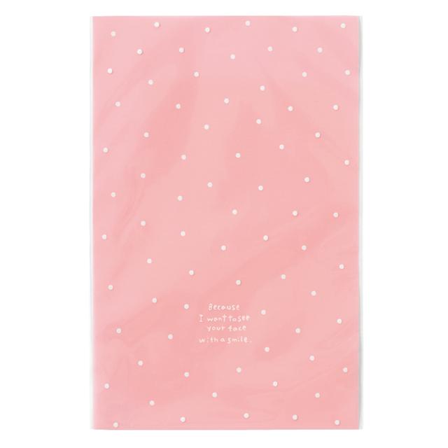 《14日納期》ドットOPPギフトバッグ-ピンク 50枚