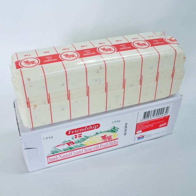 ≪14日納期≫【フレッシュ】クリームチーズ ピーチメルバ 130gカット 【デンマーク産】