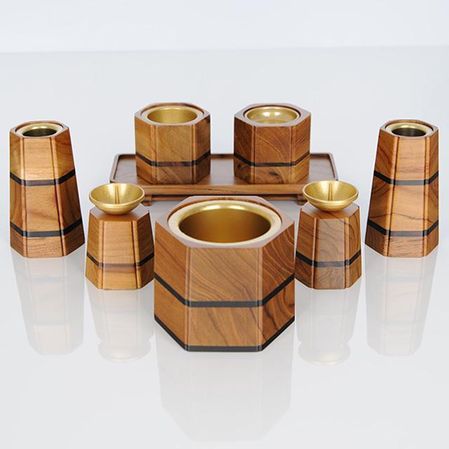 寄木細工 六角型 チーク 8点セット