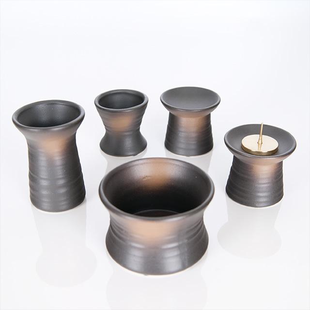 陶器 鉄釉(てつゆう) おもむき  5点セット