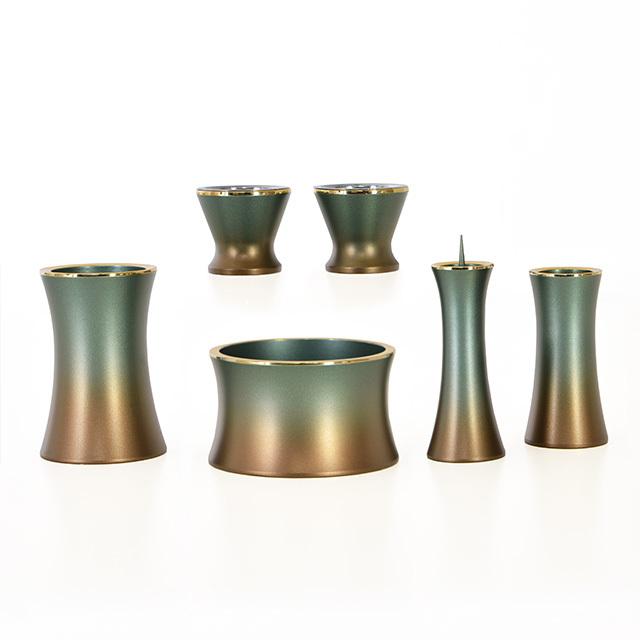 銅器 マロン マットグリーン 2.5寸~3.0寸 6点セット