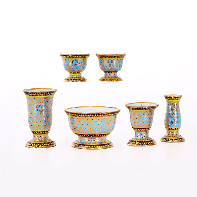 陶器 ベンジャロン  ブルー 3.0寸 6点セット