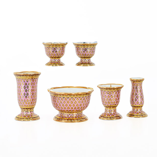 陶器 ベンジャロン  ピンク 3.0寸 6点セット