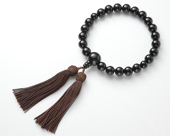 男性用 略式数珠(片手念珠) 塗黒丹