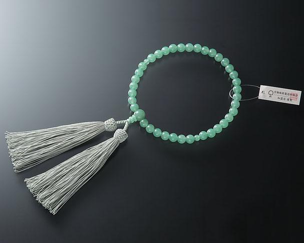 女性用 略式数珠(片手念珠) 印度翡翠(ヒスイ)7ミリ 共仕立東雲房