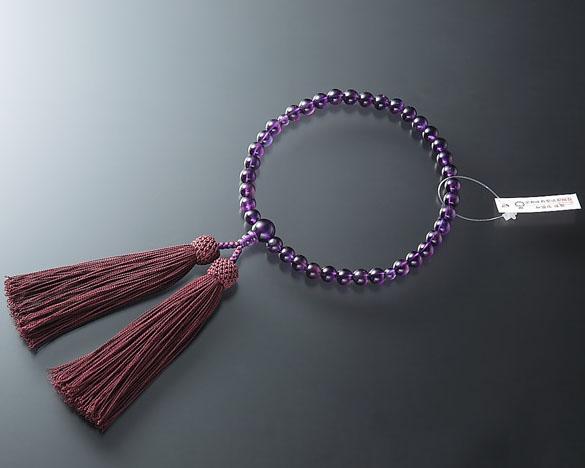 女性用 略式数珠(片手念珠) 特上 紫水晶(アメジスト)7ミリ 共仕立東雲房