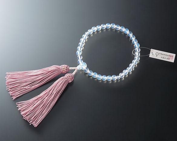 女性用 略式数珠(片手念珠) ガラスオパール7ミリ 共仕立人頭