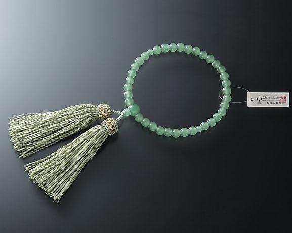 女性用 略式数珠(片手念珠) ガラスインド翡翠7ミリ 共仕立人頭