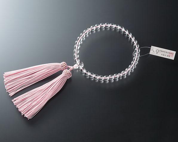 女性用 略式数珠(片手念珠) ガラス水晶7ミリ 共人頭