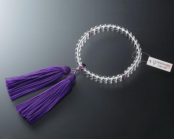 女性用 略式数珠(片手念珠) ガラス水晶7ミリ 紫水晶仕立
