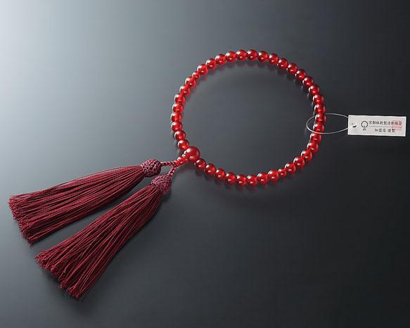 女性用 略式数珠(片手念珠) 瑪瑙(メノウ)7ミリ 共仕立東雲房