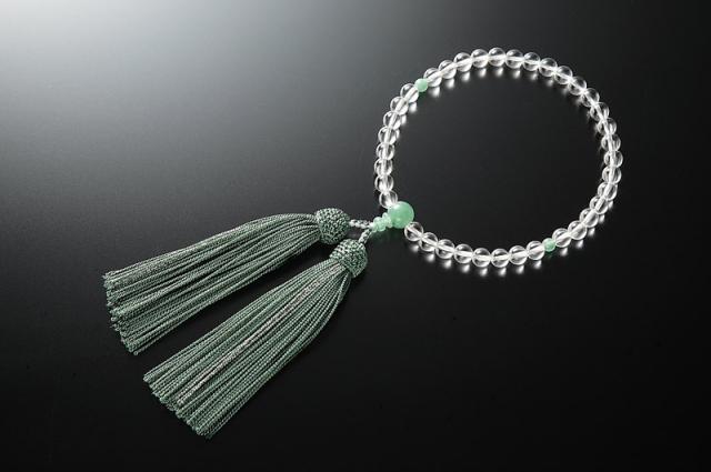 女性用数珠(念珠) 本水晶 天然石 ヒスイ仕立