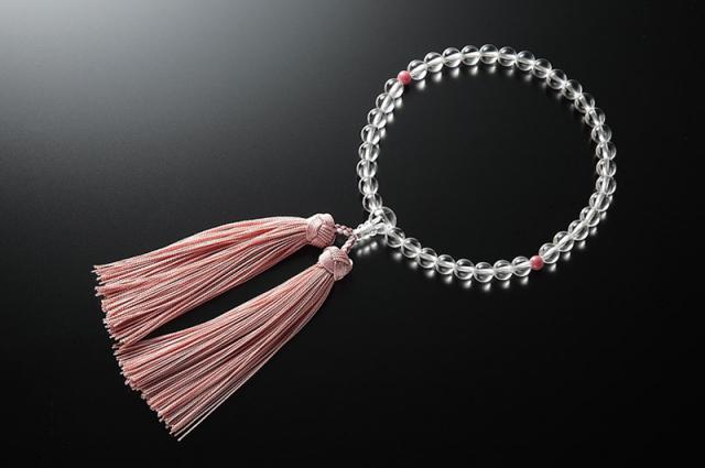 女性用数珠(念珠) 本水晶 天然石 二天蓮華石
