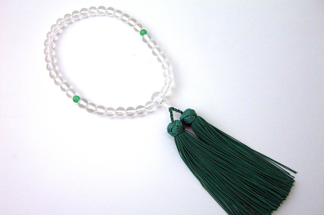 女性用数珠(念珠) 本水晶 天然石 二天ヒスイ