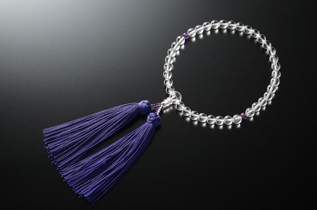 女性用数珠(念珠) 本水晶 天然石 二天紫水晶