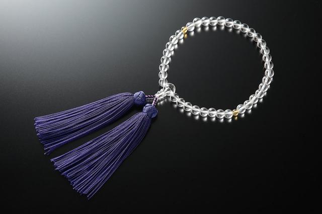 女性用数珠(念珠) 本水晶 天然石 二天黄水晶