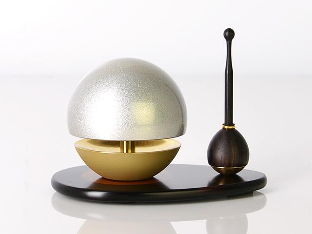 たまゆらリン シルバー(リン棒・リン台セット) 1.8寸〜2.0寸/1.8寸/リン棒:メープル/リン台:アッシュ