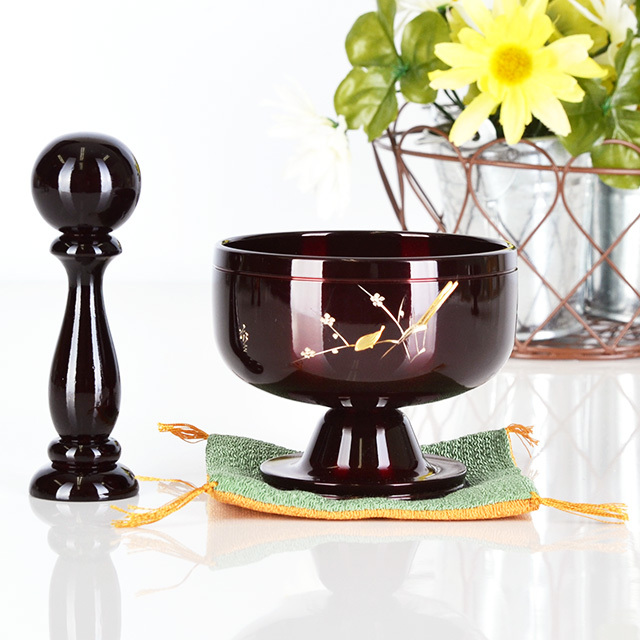 高台 りん ふくさ付 「遊亀」(ゆうき) ワインレッド 梅うぐいす彫